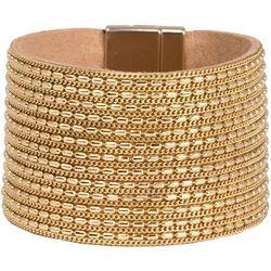 SAACHI Gold Tone Chain & Leather Cuff Bracelet