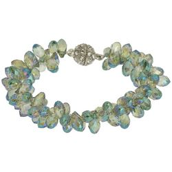 SAACHI Blue Multi-Faceted Glass Beaded Magnetic Bracelet