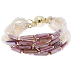 SAACHI Beige Glass Beads & Pink Shell Bracelet