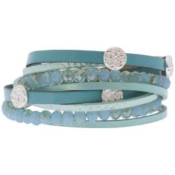 SAACHI Aqua Blue Leather & Bead Double Wrap Bracelet