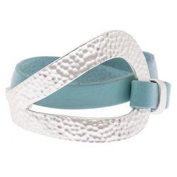 SAACHI Hammered Loop Cuff Leather Wrap Bracelet