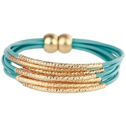 SAACHI Aqua Blue Leather & Metal Bars Cord Bracelet