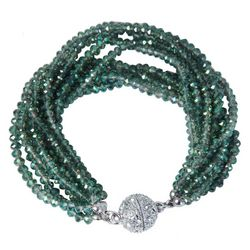 SAACHI Green Glass Beaded Multi Row Bracelet