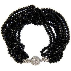 SAACHI Black Multi-Faceted Glass Beaded Bracelet