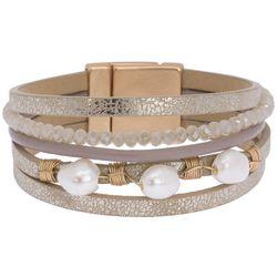 SAACHI Beige Bead & Faux Pearl Embellished Bracelet