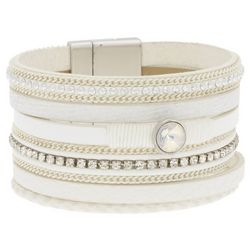 SAACHI Majorca 6 Row White Leather Corded Bracelet