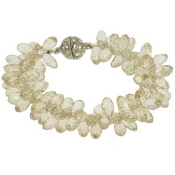 SAACHI Champagne Beige Glass Beaded Magnetic Bracelet