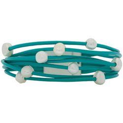 SAACHI Multi Row Turquoise Blue Cord & Faux Pearl Bracelet