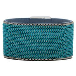 SAACHI Multi Turquoise Blue Painted Chain Bracelet