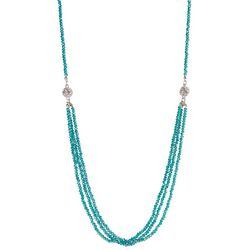 SAACHI Teal Blue Glass Beaded Magnetic Necklace