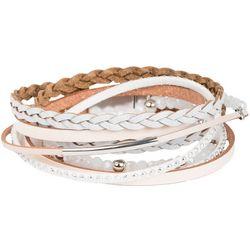 SAACHI White Braided Leather Double Wrap Bracelet