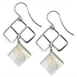 JODY COYOTE Pearlized Square Dangle Earrings