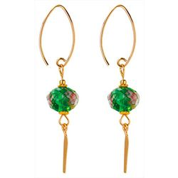 JODY COYOTE Facet Rose Green Bead Dangle Earrings