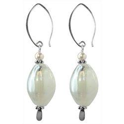 JODY COYOTE White Oval Artisan Glass Drop Earrings