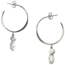 Jody Coyote Natural Bead Drop Hoop Earrings
