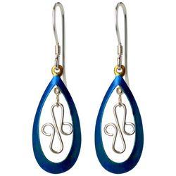 Jody Coyote Blue Teardrop Curvy Drop Earrings