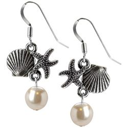 Jody Coyote Starfish Seashell Faux Pearl Drop Earrings