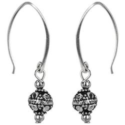 Jody Coyote Silver Tone Sculpted Round Bead Drop Earrings