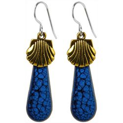 Jody Coyote Gold Tone Shells Blue Drop Earrings