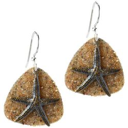 Jody Coyote Sandy Disc Background Starfish Overlay Earrings