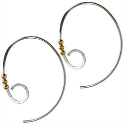 Jody Coyote Silver Tone Spiral Hoop Earrings