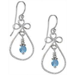 Jody Coyote Blue Silver Tone Teardrop Earrings