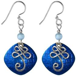 Jody Coyote Blue Square & Silver Tone Squiggle Drop Earrings