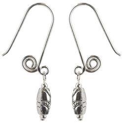 Jody Coyote Silver Tone Short Spiral Oval Bead Drop Earrings