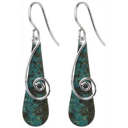 Jody Coyote Long Green Metal Spiral Drop Earrings
