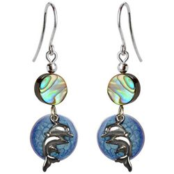 Jody Coyote Twin Dolphins & Abalone Shell Bead Earrings