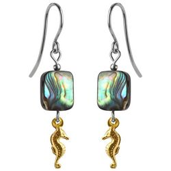 Jody Coyote Gold Tone Seahorse & Abalone Shell Bead Earrings