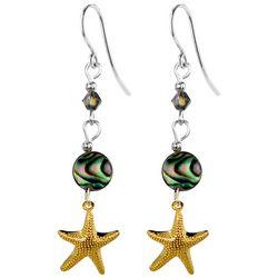 Jody Coyote Gold Tone Starfish & Abalone Bead Drop Earrings