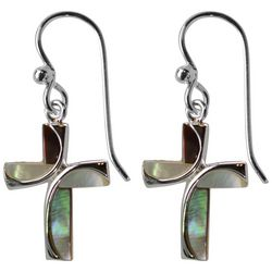 Jody Coyote Silver Tone & Shell Cross Earrings
