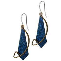 Jody Coyote Blue Metal Shield Drop Earrings