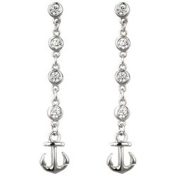 Jody Coyote Cubic Zirconia Linear Anchor Drop Earrings