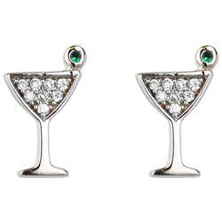 Jody Coyote Rhinestone Martini Glass Stud Earrings