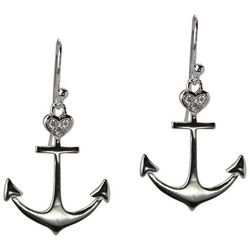 Jody Coyote Silver Tone Anchor Drop Earrings