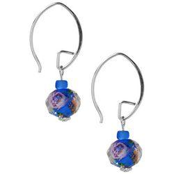 Jody Coyote Blue Floral Bead Drop Threader Earrings