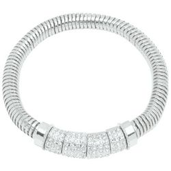 Nine West Silver Tone Rhinestone Stretch Bracelet