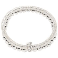 Nine West 2-pc. Silver Tone Mesh & Beaded Bracelet Set