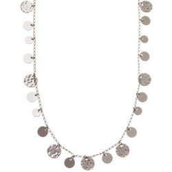 Nine West Silver Tone Hammered Disc Necklace