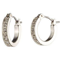 Nine West Rhinestone Pave Hoop Earrings