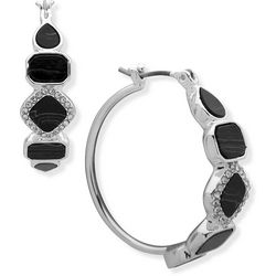 Nine West Black Stones & Silver Tone Hoop Earrings