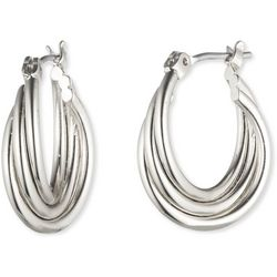 Nine West Silver Tone Small Twisted Hoop Earrings