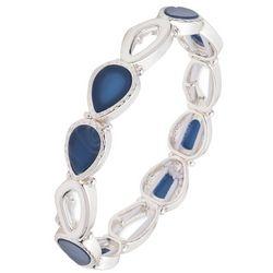 Nine West Denim Blue Teardrop Stone Stretch Bracelet