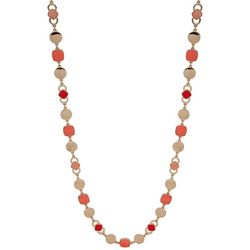 Nine West Coral & Gold Tone Long Necklace