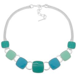 Nine West Green Blue & Silver Tone Square Front Necklace