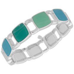 Nine West Silver Tone Blue & Green Squares Stretch Bracelet