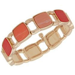 Nine West Gold Tone & Coral Square Stretch Bracelet