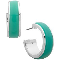 Nine West Green & Silver Tone C Hoop Earrings